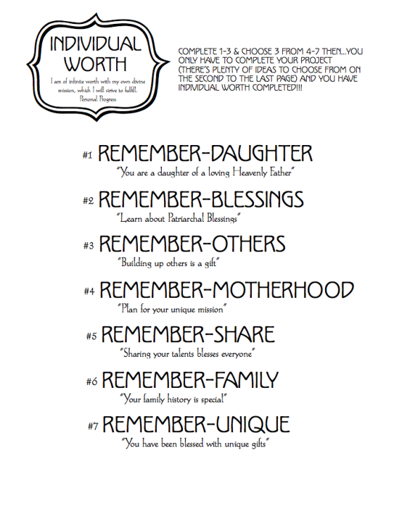 Individual Worth Cover Worksheet