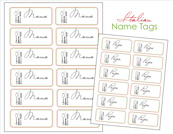 Italian Dinner Name Tags Image