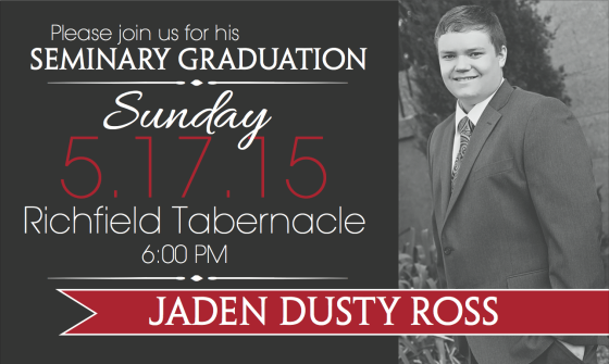 Jaden LDS Seminary Graduation Invitation