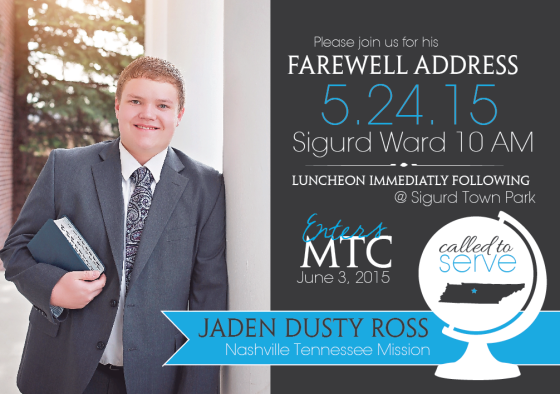 Jaden LDS Mission Farewell Invitation