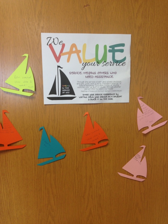 Young Women's Service~Sailboat Door