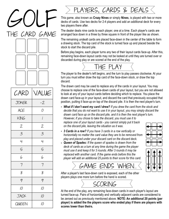 Golf %22the card game%22 Rules