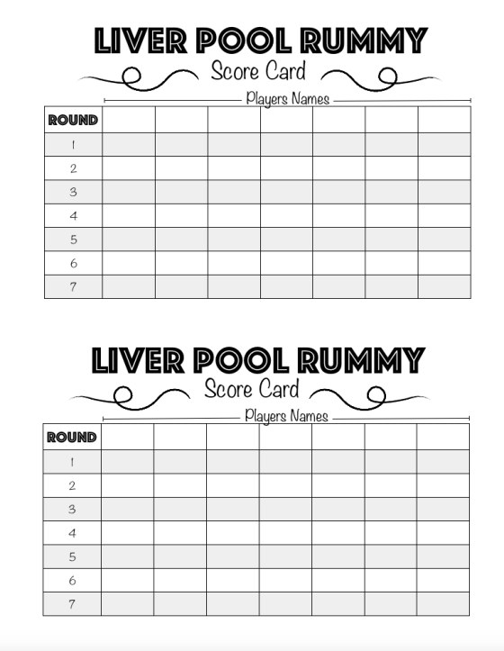 Liver Pool Rummy Score Card